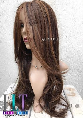 Lace Front Wig - MARCELA - Repicado com franja 60cm - Chocolate com luzes mel - Repartição Livre - PRONTA ENTREGA