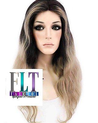 Lace Front wig cabelo 100% humano - 40cm - Mechado Repartição livre - ENCOMENDA
