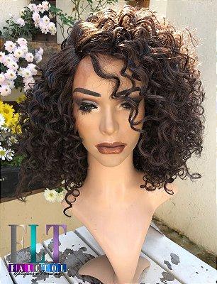 Lace Front wig Cacheada DREAW CUT - 4A - Castanho Escuro -  PRONTA ENTREGA