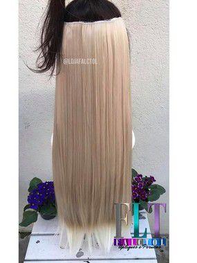 Aplique tic tac cabelo sintético - Loiro claro com luzes - 60cm - 100gramas