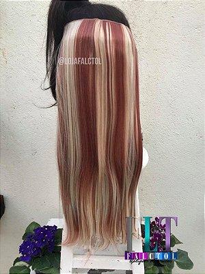 Aplique de tic tac cabelo sintetico - Loiro claro com mechas vermelhs - 60cm- 100gramas- tela P