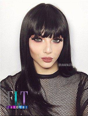 Peruca wig lisa com franja cabelo humano + fibra futura preta - Leila -  ENCOMENDA