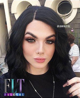 Peruca  Lace front wig cacheada - Long bob desconectado com cachos - Nathalie  - varias cores - Encomenda