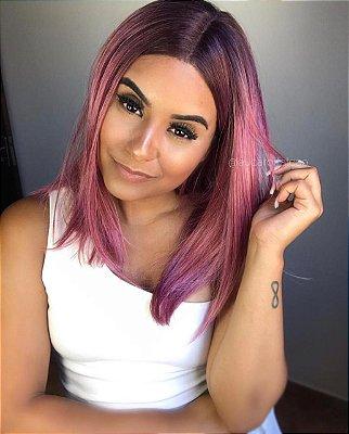 Peruca lace front wig chanel rosa repartição ao meio Lolla - Rose Gold - PRONTA ENTREGA