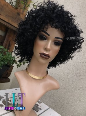 Peruca half wig cacheada curta Otto - Preta - PRONTA ENTREGA