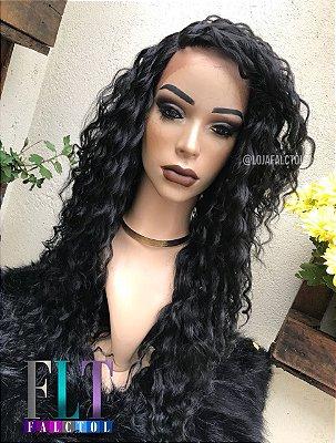 Peruca Lace front wig cacheada preta 70cm - PRONTA ENTREGA