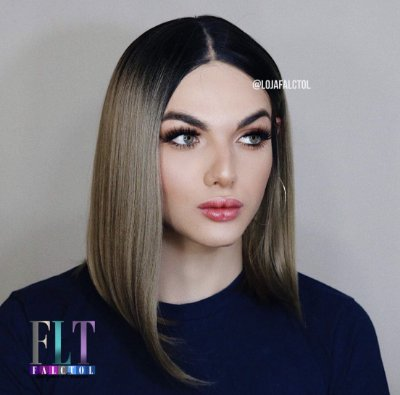 Peruca Lace front wig chanel lisa Matte Gray - KIM