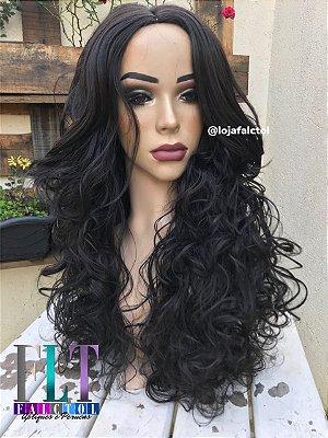 Peruca wig cacheada 70cm Lya - Castanho escuro -ENCOMENDA