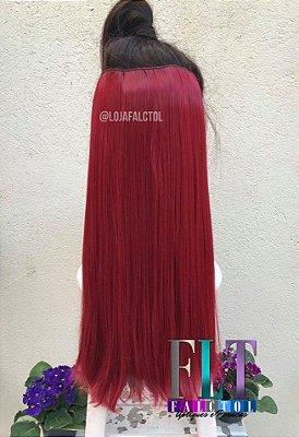 Aplique de tic tac cabelo sintetico- Vermelho cereja Liso 100gramas 60cm - Tela P