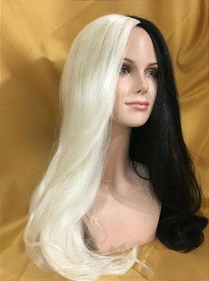 Peruca wig lisa preto e branco CRUELA - Pronta Entrega