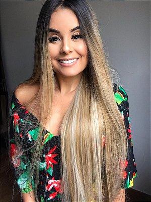 REPOSIÇÃO  - Peruca lace front wig Mirela 2 -  loiro mechado 80cm Repartição livre - PRONTA ENTREGA
