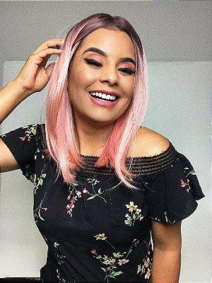 EDIÇÃO LIMITADA Peruca lace front wig  - Lolla  - Ombre  Rosa bebe
