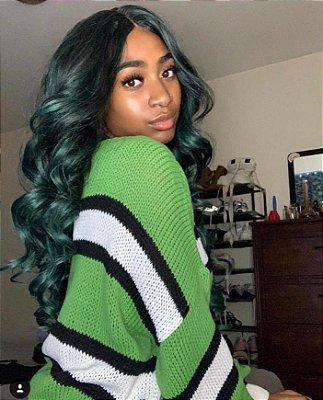 Peruca lace front wig cacheda Preto com Verde +  PRESENTE