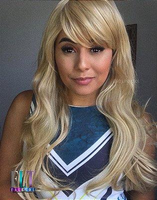 Peruca wig ondulada com franja - Medio - loiro mel