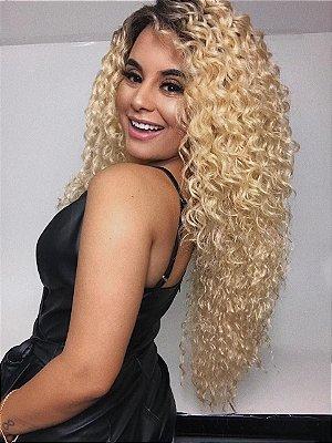 ULTIMA PEÇA - Peruca lace front wig cacheada ombre loiro - Morgana - 70cm