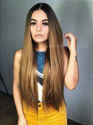 Peruca lisa repartição livre 4x4 ombre hair mel - Lya  - 75cm  - PRONTA ENTREGA