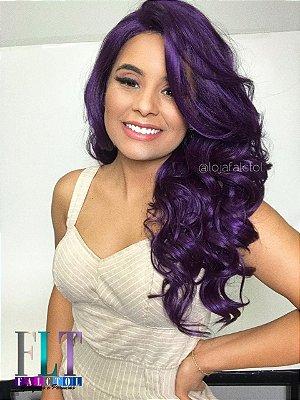 LANÇAMENTO - Peruca lace front wig cacheada repartição livre - Roxa - Pronta Entrega