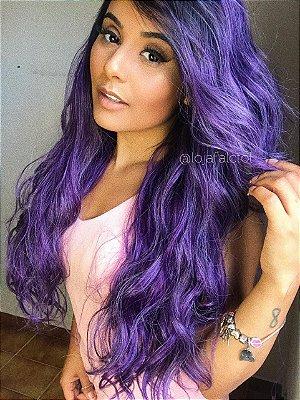 ULTIMA PEÇA - Peruca lace font wig cacheada Roxa claro - Super Monny - PRONTA ENTREGA