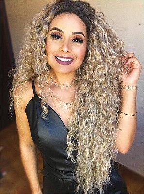 REPOSIÇÃO -   Peruca lace front wig cacheada 70cm -  LOIRA - MARYLIN - PRONTA ENTREGA