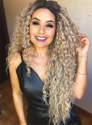 Peruca lace front wig cacheada 70cm -  PRETO - MARYLIN - PRONTA ENTREGA