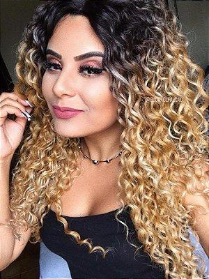Peruca lace front wig cacheado loira - Pronta Entrega