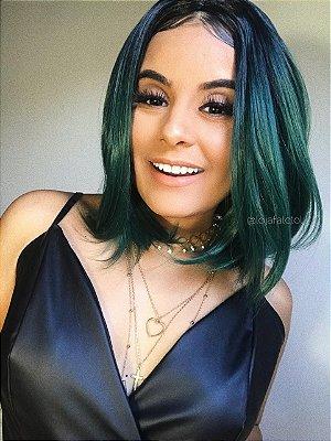Peruca wig curta com repartição  ombre  verde - Minie - PRONTA ENTREGA