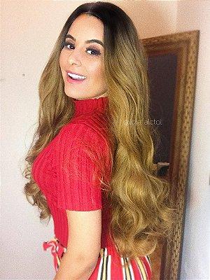 Peruca lace front wig  cacheada repartição livre 4x4  silk top 75cm - ombre hair mel - LYA  - 75cm  - PRONTA ENTREGA