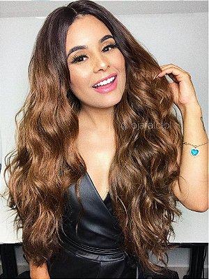 Peruca lace front wig cacheada chocolate mechado - SUPER MONNY - PRONTA ENTREGA