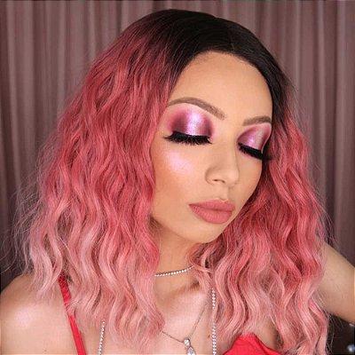 ULTIMA PEÇA Peruca lace front wig curta ondulada Rosa ombre - LARA - PRONTA ENTREGA
