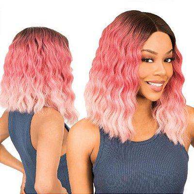 Peruca lace front wig curta ondulada Rosa ombre - LARA - PRONTA ENTREGA