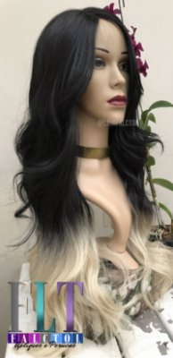 SYNTHETIC HAIR WIG INVISIBLE L PART WIG - Preto ombre platinado - ENCOMENDA