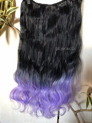 Aplique tic tac preto com ombre hair lilás com cachos 60cm