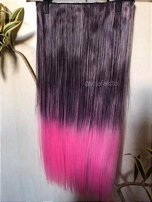 Aplique tic tac preto com luzes e ombre hair rosa liso 60cm