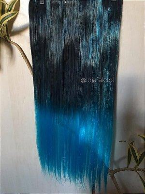 Aplique tic tac preto com luzes ombre hair azul 60cm