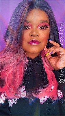 EDIÇÃO LIMITADA - Peruca lace front wig BIANCA  preto com ombre hair rosa repartição livre 55cm