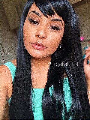 Peruca wig com franja lisa 70cm  -  Milka - Preta