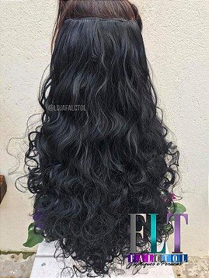 Aplique de tic tac cabelo cacheado preto 65cm