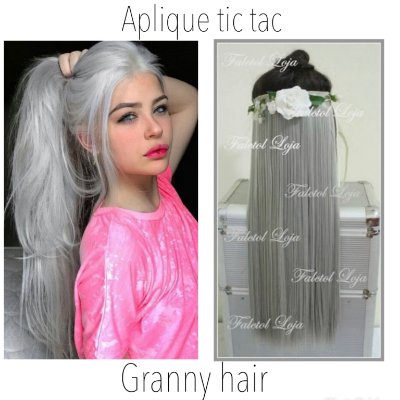 Aplique de tic tac sintetico liso granny hair cinza 60cm