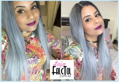 Lace front Wig Deep Invisible part Davisa-  Preto com cinza -  ENCOMENDA