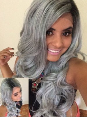 Ivible Deep Part Lace Wig - ELVEEN - Preto com Cinza - ENCOMENDA