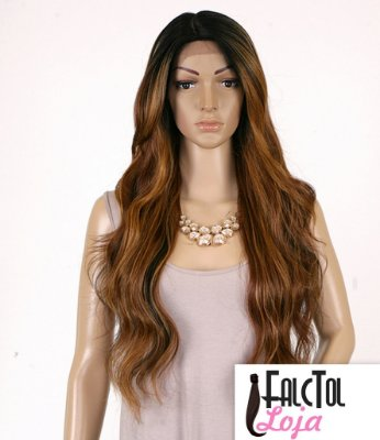 Lace front Invisible part Deep Suzie-  Marrom mechado - ENCOMENDA