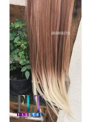 Aplique de tic tac - Ruivo com ombrê hair Loiro claro - liso - 60cm -100gramas- Tela P