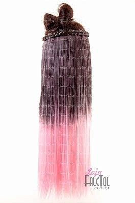 Aplique de tic tac - Preto com luzes  ombrê hair  Rosa bebê- 60cm - 100gramas-  Tela P