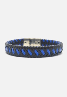 Pulseira Kodo Acessórios Couro Entrelaçada Preta e Azul