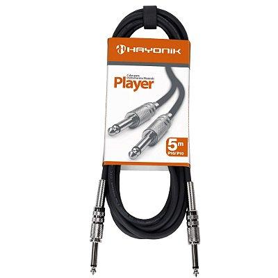 Cabo para Instrumentos Hayonik Player P10 x P10 5m Preto