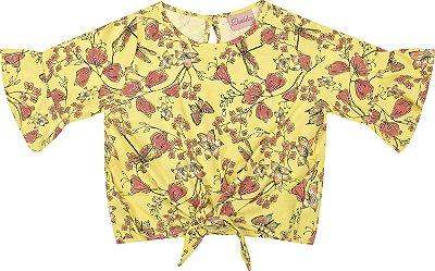Blusa em Tricoline Viscose Flor Amarelo