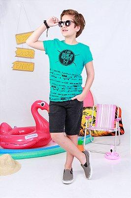 Camiseta em Meia Malha Penteada com Estampa Skate Verde