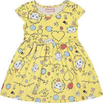 Vestido em Meia Malha Estampado Gatinho Amarelo