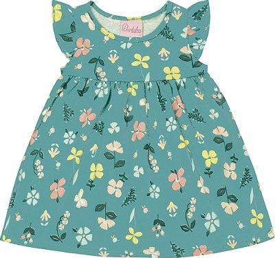 Vestido em Meia Malha Estampado Floral Verde