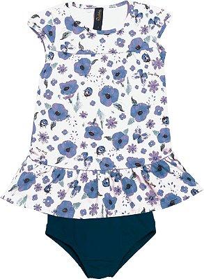 Conjunto de Vestido e Calcinha Flor Branco e Azul